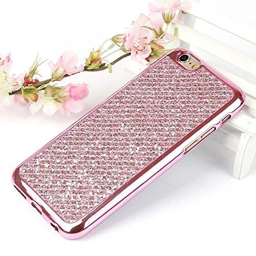 Cover iPhone 7 Plus,Custodia iPhone 7 Plus,Leweiany Moda Lusso 3D Belle iPhone 7 Plus Cover Silicone Forma Geometrica con Brillantini Bling Glitters Paraurti in Placcatura TPU Morbida Antiuroto Ultra Rosa