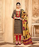 Ankit Fashions Party Wear Brown Art Silk Printed Unstitch Dress
