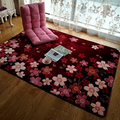 e Teppich Wohnzimmer Footcloth Tee Tisch Bodenmatte Hochzeit Teppiche ( Farbe : Weinrot , größe : 100*150cm ) (Orientalische Hochzeit)