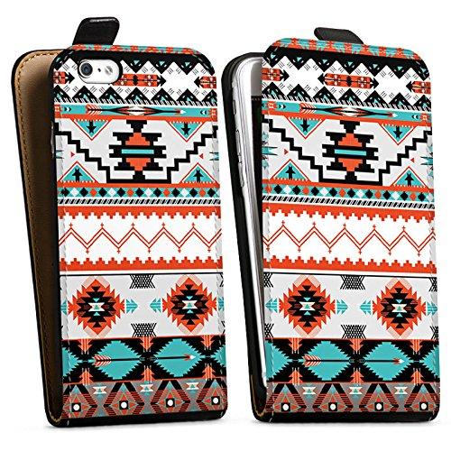 Apple iPhone X Silikon Hülle Case Schutzhülle Ethno Azteken Muster Downflip Tasche schwarz