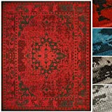 Floordirekt Vintageteppich Robuster Wohnzimmerteppich in 4 Farben für eine schicke Inneneinrichtung (Rot, 80 x 150 cm)