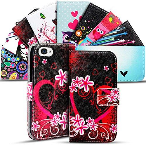 Gemusterte Hülle für Apple iPhone 4S 4 Klapphülle Tasche – Wallet Case mit verrücktem Paisley Motiv Design mit Kartenfach und Aufstellfunktion Motiv 19