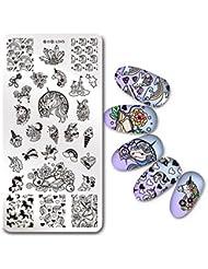 Born Pretty Nail Art Stamping Plaque Image Timbres Plaque Licorne Manucure Nail Art Déco des Ongles Harunouta L045