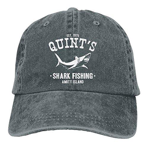 b5c457ee3664b Quints Shark Fishing Jaws One Size Denim Baseball Cap Adjustable Dad Hat  Unisex Sports Trucker Cap