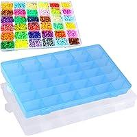Liuer 2PCS Boîte de Rangement Perles Boîte à Bijoux Conteneur Plastique Transparent avec 36 casiers Amovibles Ajustable…