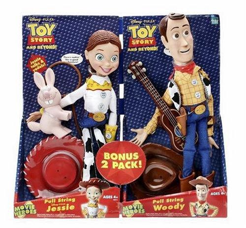 Toy Story 2005 - Movie Heroes 2-Pack - Pull String WOODY - mit Gitarre und Cowboy-Hut & Pull String JESSIE mit Lasso , Cowboy-Hut und Critter - ca. 35cm - sprechen englisch - OVP