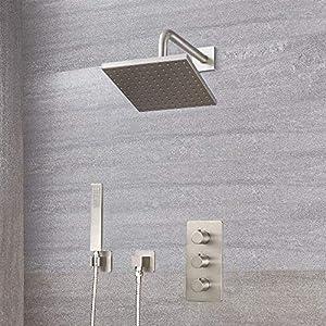 Hudson Reed Válvula termostática triple para ducha, telefonillo y alcachofa – cepillado en níquel
