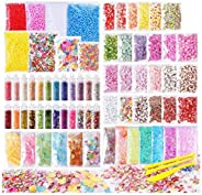 Slime Supplies Kit, 72 Pack Slime Stuff Charms Include Floam Balls, Glitter, Cake Flower Fruit Slices, Fishbow