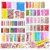 72 Pack Slime Stuff Charms Include Floam Balls, Slime Supplies Kit, Glitter, Cake Flower Fruit Slices, Fishbowl Beads, Shell,