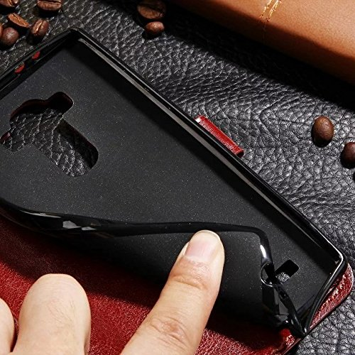 Wkae Case Cover LG G4 Fall feste Folio magnetische Design Flip Brieftasche Stil Fall Farbmuster PU-Leder-Abdeckung Standup-Abdeckung Fall für LG G4 ( Color : Brown , Size : LG G4 ) White