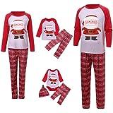 Fossen Kids Pijamas Familiares Navidad con Estampado de Santa Claus, Pijama Navidad Familia de Manga Larga Conjunto de Mujer
