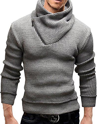 MERISH Strickpullover Herren Schalkragen Softstrick Slim Fit Modell 51 Grau