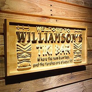 AdvPro Wood Custom wpa0134 Name Personalized Tiki Bar Mask Beer Wood Engraved Wooden Sign - Large 67.5 cm x 27.0 cm