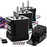 Longruner Stepper Motor Schrittmotor Nema 17 3 Packs 1.7A 0.59 Nm 84oz.in 48mm Body w/ 1m Cable & Connector for 3D Printer CNC with Motor Mounting Bracket and 3*6mm M3 Screws LQD03 (17HD48002H-22B)