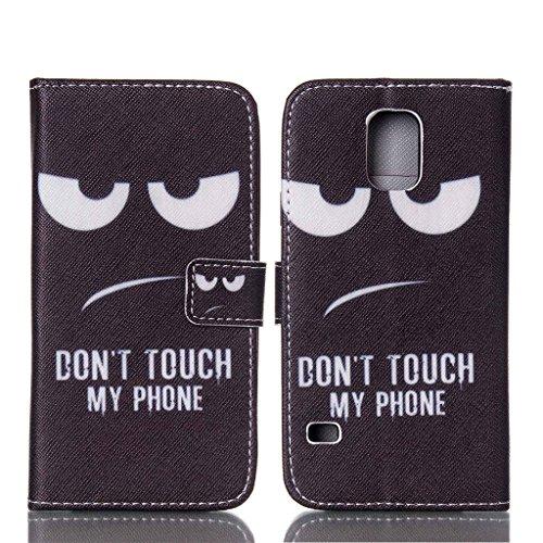 Forepin®Multi-function Wallet Case Kunstlederhülle + Stylus Pen für Apple iPhone 4 /4G/ 4S-Cover Flip Tasche Card Slot PU Leder Handtasche mit Kartenfach und Ständerfunktion in Don't touch my Phone De Galaxy S5 mini