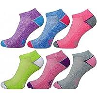 6 Pairs Ladies Prohike Cushioned Trainer Socks, Multi, UK 4-8