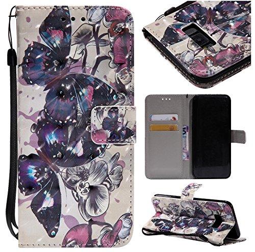 Para Apple Samsung Galaxy S8 Plus Funda, Ecoway Pintado en 3D Cuero de la PU Leather Cubierta , Función de Soporte Billetera con Tapa para Tarjetas Soporte para Teléfono - Mariposa negra