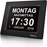FiBiSonic Wecker Digital Bilderrahmen Groß Tischuhr/Wanduhr 8 Zoll Standuhr mit Zeit/Kalender/Foto/Video Anzeige…