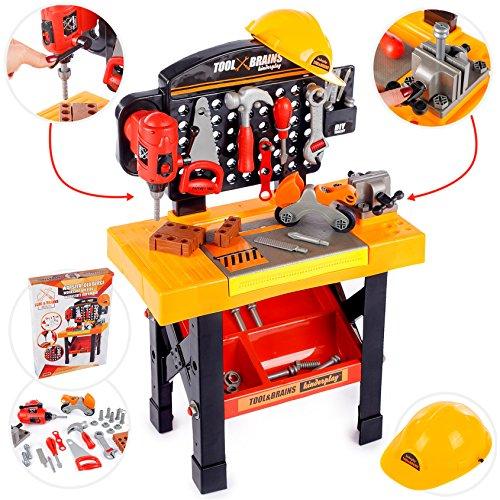 Kinderwerkbank & Zubehör Werkstatt werken Kleinkindspielzeug Kinderbank Werkzeug mit Zubehör KP3778 Werkbank Spielzeug Schrauben und Bauelementen Inkl. HELM Zubehör