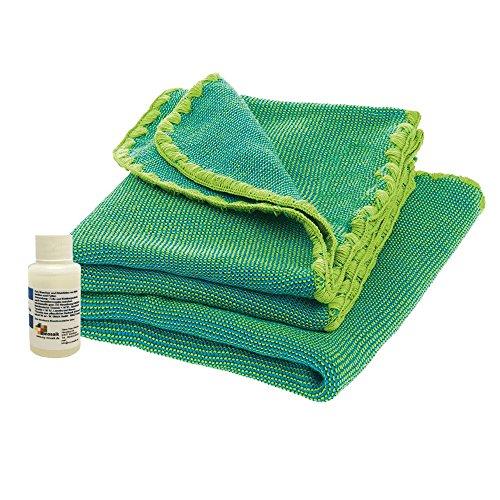 Disana Melange-Babydecke 80 x 100 cm aus Merino-Schurwolle kbT, inkl. Wollwaschmittel my-mosaik (grün-blau melange)