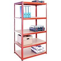 Scaffale per Garage – Scaffalatura Extra Profonda , 180cm x 90cm x 60cm – Rosso – 5 Ripiani (265Kg a ripiano) – Capacità…