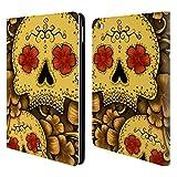 Head Case Designs Gold Blühende Totenköpfe Brieftasche Handyhülle aus Leder für iPad Air 2 (2014)