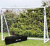 Wollowo - Fußballtorpfosten & Netz mit Tragetasche - Kunststoff - 2,44 x 1,83 m (8 x 6 ft) - Weiß