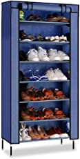 PAffy Steel Portable Multi Utility Shoe Rack, 7 Layer, Navy Blue