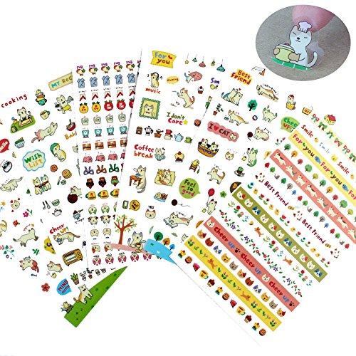 Jespeker Aufkleber Sticker DIY Tagebuch Scrapbooking Kinder Katze Blumen Emoji Klein Transparent 6 Stück -