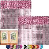 Bestlivings Fadenvorhang 2er Pack Gardine Raumteiler, Auswahl: 140x240 Altrosa - Fuchsia