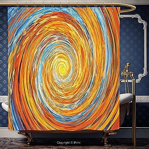 Iprint 182,9x 182,9cm Rideau de douche 3d Fractal Décor hippie style Vortex spirale rotatif coloré insolite Design Contraste avec gratuit Lunettes 3d Orange Bleu 00087Polyester Accessoires de salle de bain Home Decorati, Polyester, Multy, 72W x 84H Inch