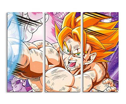 Cuadro sobre lienzo con diseño de Dragon Ball Z Super Saiyan Goku, 3 piezas (3 x 90 x 40 cm, 120 x 90 cm en total), hermosa impresión artística sobre lienzo auténtico, instalado sobre bastidor