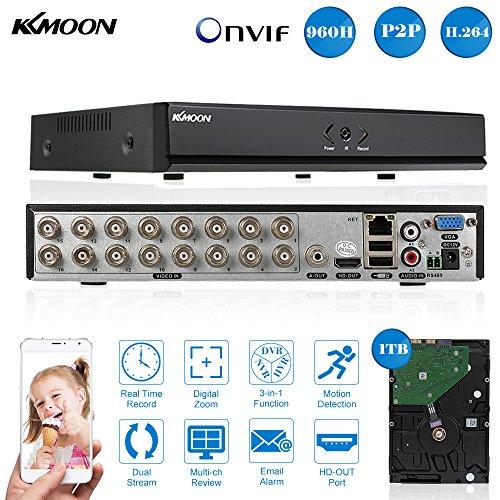 KKmoon Digital Video Recorder 16CH Kanal P2P Cloud Netzwerk Onvif + 1 TB Festplatte unterstützt Plug Play Android/iOS APP für CCTV Sicherheit Kamera-überwachungssystem Digital-video-bnc-kabel