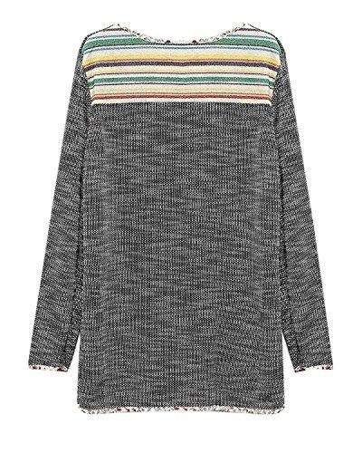 Minetom Damen Herbst Maxi Lose Langarm Casual Pulli Graffiti Bluse Longpullover Tunika Mode Rundhalsausschnitt Pullover Grau
