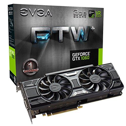 Price comparison product image EVGA 03G-P4-6367-KR EVGA GeForce GTX 1060 FTW+ Gaming Graphics Card - Black (3 GB GDDR5,  PCI Express 3.0,  1632 MHz / 1860 MHz / 8008 MHz)