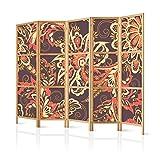 murando - Paravent XXL Blumen 225x171 cm - 5-teilig - einseitig - eleganter Sichtschutz - Raumteiler - Trennwand - Raumtrenner - Holz - Design Motiv - Deko - Japan p-B-0019-z-c