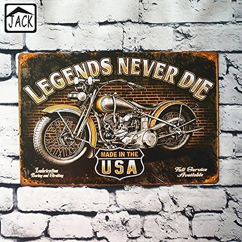 Sette Boutique Legends Never Die USA Moto in metallo Tin Sign Garage Barn Gallery per conservare Club Bar Pub decorazione da parete Tin Placca Piastra