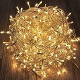 300er LED-Lichterkette innen & außen mit Trafo warmweiß Kabel transparent