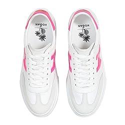 Zapatillas de Mujer Hogan H365 HXW3650BJ50KX93724 Zapatillas Bajas Deportivas de Piel Blanca Blanca Blanca Fucsia Zapatos de Pas