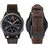iBazal 22mm Armband Leder Kompatibel Samsung Gear S3 Frontier/Classic SM-R760, Samsung Galaxy Watch 46mm, Moto 360 2nd Gen 46mm, Huawei Watch 2 Classic [Vintage Serie] - Simple Kaffee