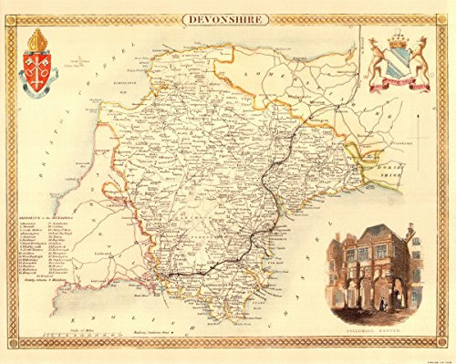 Antike Karte Devonshire-- - Karte, 50.80 x 40.64 cm Plymouth Karten