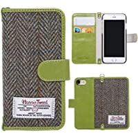 iPhone 7 Flip Case , iPhone 8 Cover MONOJOY Purse Card Cover Harris Tweed Wool Surface Fabric and Synthetic Suede Leather Folio Book Cover with Card Business Office Commercial Slot Magnetic Clasp Handmade Retro (iPhone 7 / 8, Green)