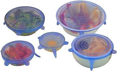 RareBella Microwave Safe Silicone Stretch Lids Flexible bowl Covers, Set of 6-Pieces, Transparent Blue