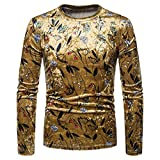 KPILP Tops Herren Pullover Hemd Lässig Blumendruck Langarm O Hals Slim T-Shirt Bluse Herbst Winter(A-Gold,EU-54/CN-L