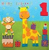 twizler 1. Geburtstag Karte für Kind mit Giraffe und Affe–One Year Old–Alter 1–Kinder Geburtstag–Mädchen Geburtstag Karte–Jungen Geburtstag–Happy Birthday Karte