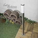 Licht-Erlebnisse Edelstahl Stehleuchte Weglampe 1,1m hoch E27 bis 60W Wegeleuchte für Außen Auffahrt Hof Garten Außenleuchte Außenlampe