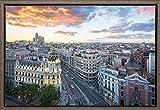 TEXFOTO Cuadro Enmarcado - Calle Gran Vía de Madrid, Edificio Metrópolis y Edificio Telefónica -...