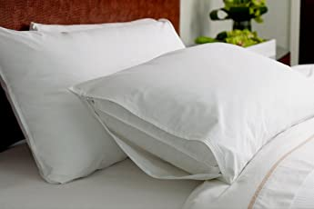 """Linenaffairs Zipper Waterproof and Dust Proof 2 Piece Pillow Protectors - 17""""x27"""", White"""