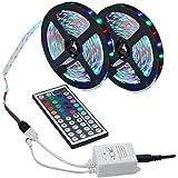 LED Strip Lights, 10M (5Mx2) 300LEDs 16RGB kleur veranderende ontmoette 44-Toetsen-RF Afstandsbediening, IP65 waterdicht 12V