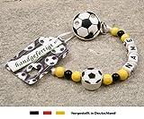 Baby SCHNULLERKETTE mit NAMEN | Motiv Fussball in Vereinsfarben - schwarz, gelb